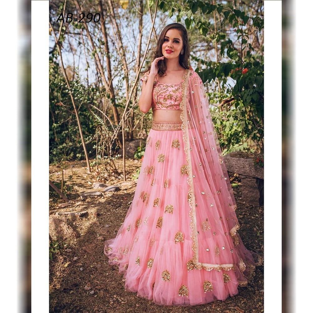 Amazeballs Rose Pink Net With Zari Embroidered Work Lehenga Choli
