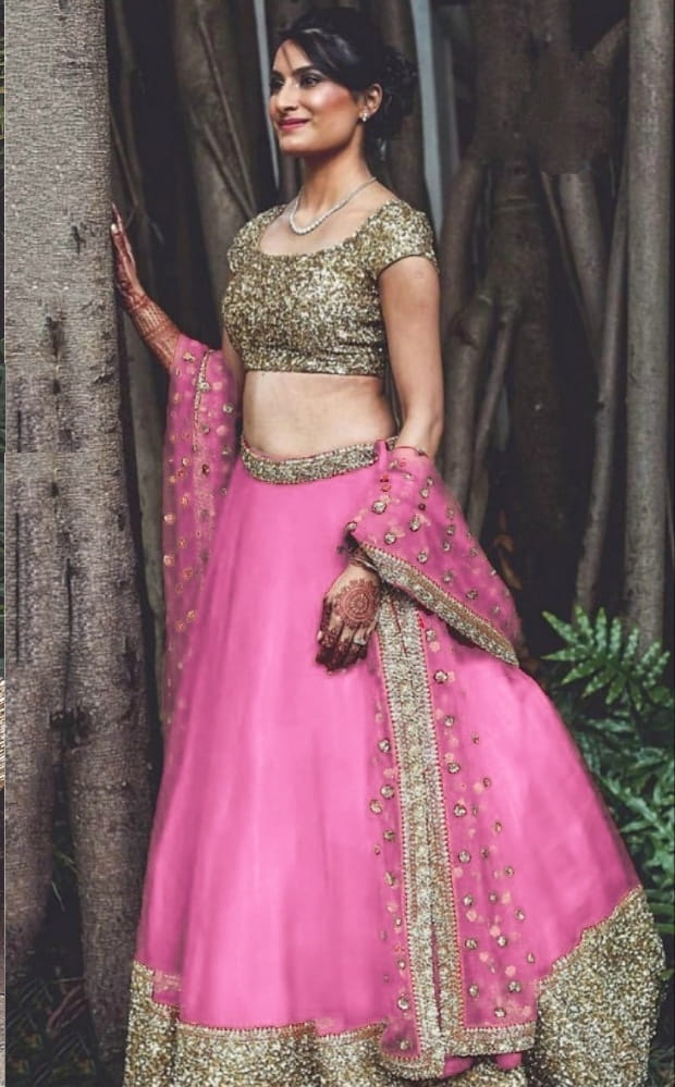 Attractive Pink Net With Sequence Work Lehenga Choli