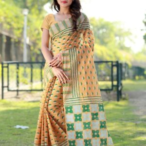 Beauteous Marigold Color Pure Cotton With Block Printed Saree Blouse