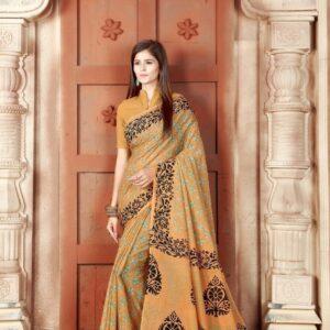 Pulchritudinous Sepia Color Pure Cotton Block Printed Saree Blouse