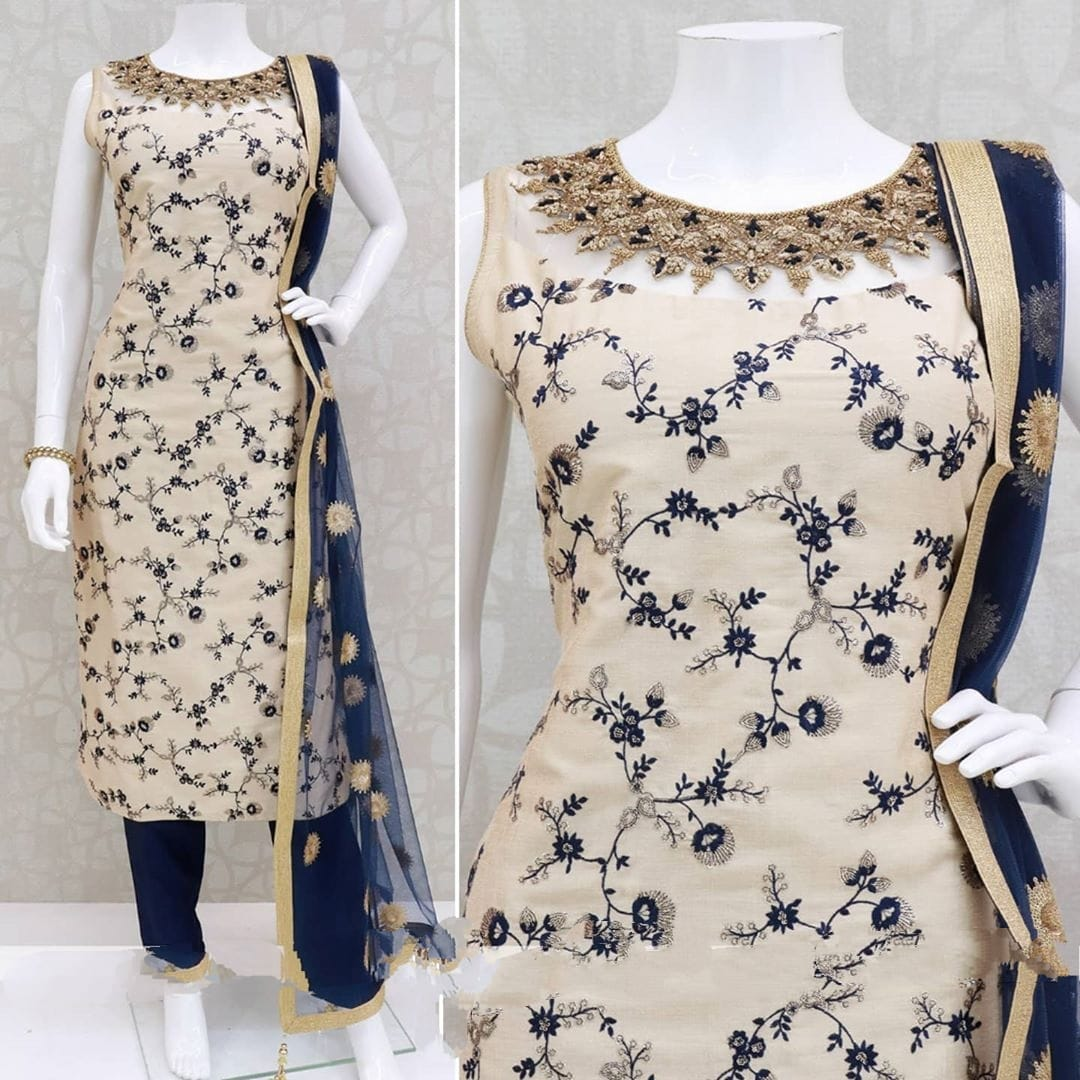 Flamboyant Cream Color Wedding Wear Full Stitched Poly Rayon Thread Embroidered Work Salwar Suit