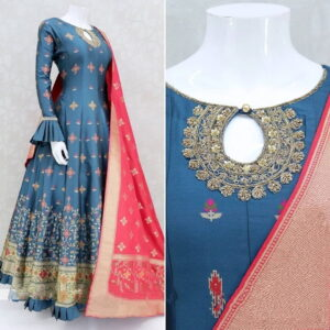 Blue Color Designer Digital Printed Dull Satin Embroidered Work Full Stitched Gown