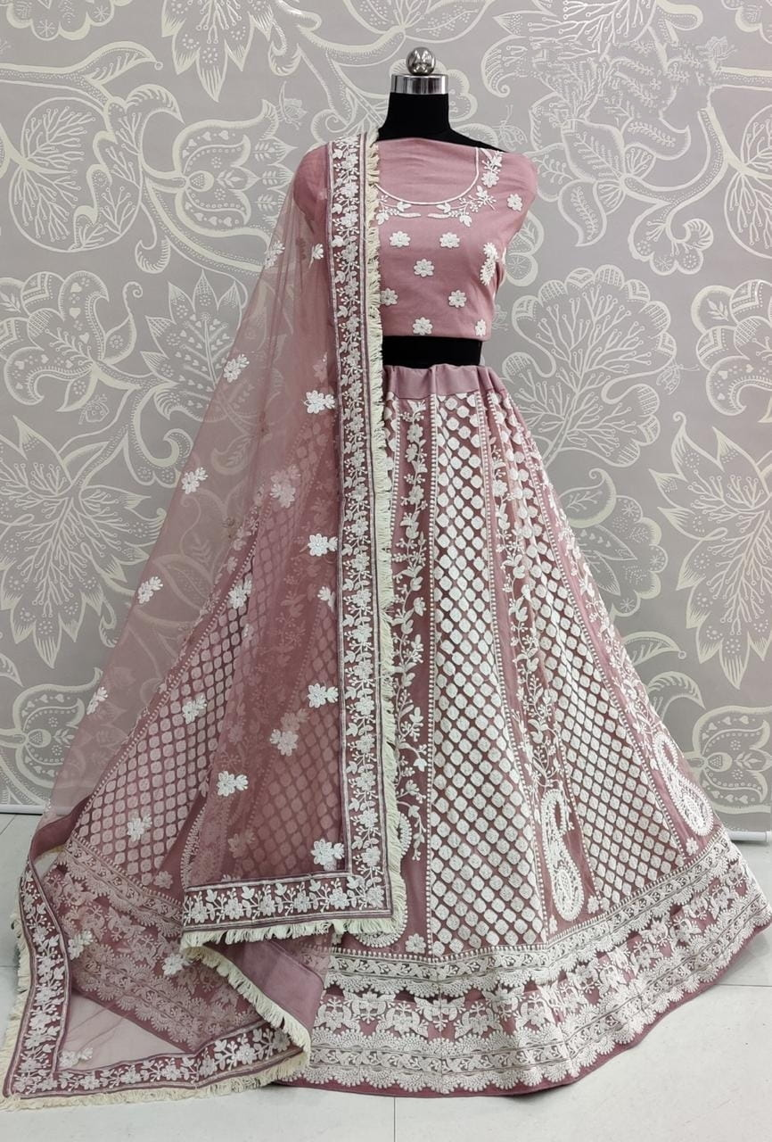 Orchid Color Designer Heavy Soft Net Embroidered Thread Work Lehenga Choli