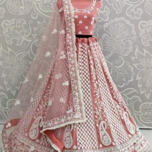 Attractive Peach Color Wedding Wear Soft Heavy Net Designer Thread Embroidered Work Lehenga Choli