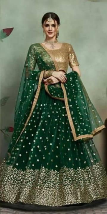 Dark Green Color Festive Wear Net Heavy Sequence Work Lehenga Choli