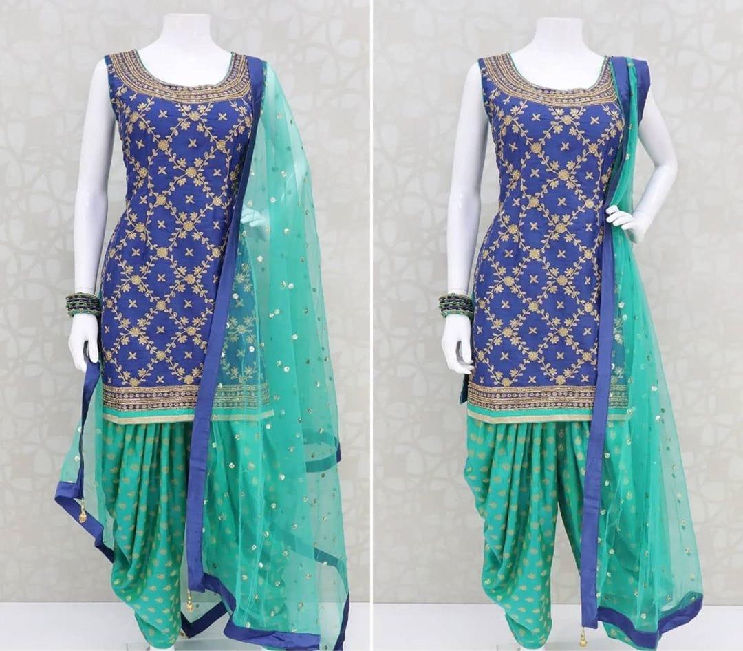 Blue Color Designer Poly Rayon Embroidered Work Digital Printed Full Stitched Patiyala Salwar Suit
