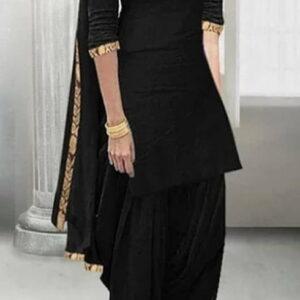 Black Color Rayon Embroidered Zari Work Salwar Suit For Festive Wear