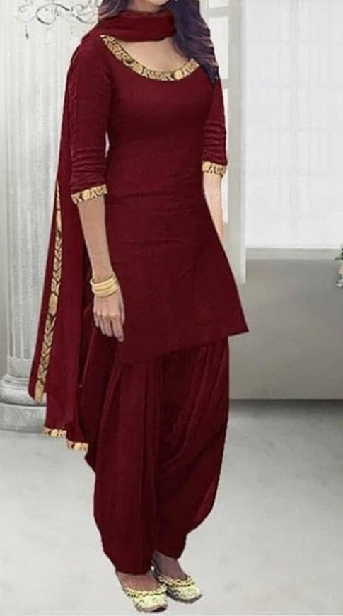 Maroon Color Zari Embroidered Work Rayon Salwar Suit For Women