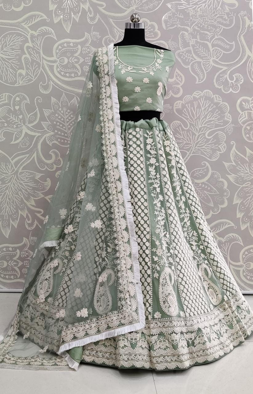 Mint Green Color Heavy Soft Net Designer Thread Embroidered Work Lehenga Choli