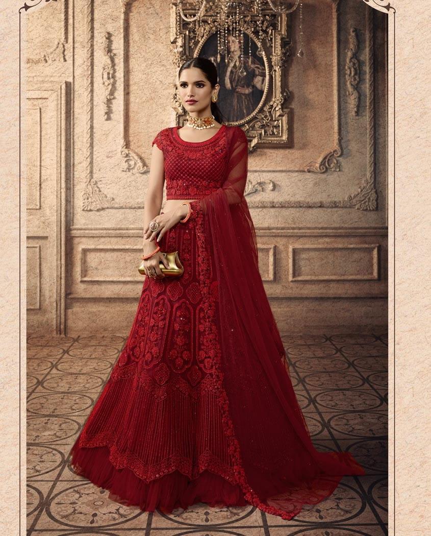Carmine Color Net Thread Sequence Embroidered Work Lehenga Choli For Wedding Wear