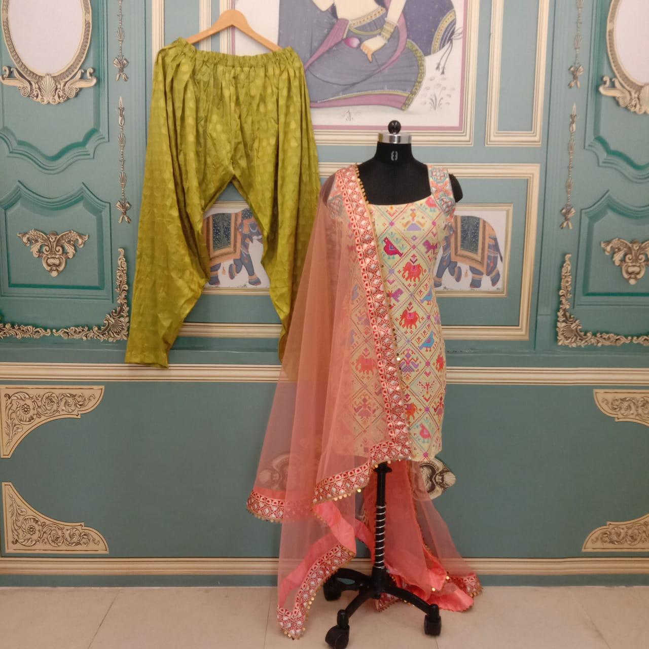 Yellow Color Festive Wear Ready Made Poly Rayon Bandhani Digital Printed Patiyala Salwar Suit