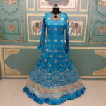 Blue Color Designer Digital Printed Dull Satin Embroidered Work Full Stitched Gown 3
